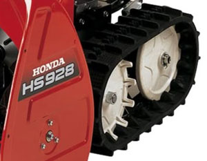 Dual tracks are engaged via involute gears that engage the rubberized tracks.